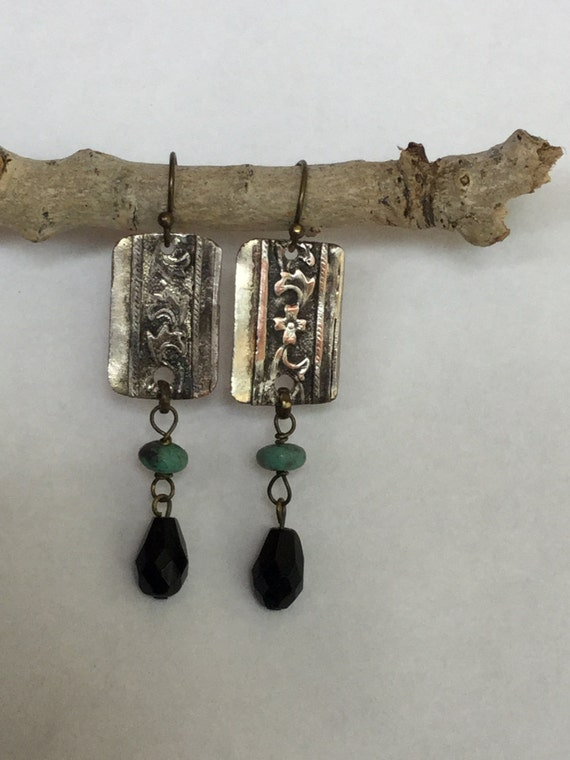 Shot in the dark~ Mixed media Turquoise ,Faceted Onyx