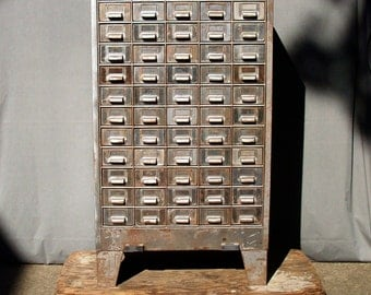 Vintage Industrial 60 Drawer Steel Parts Cabinet on Legs / Storage Organization / Steel Cabinet with Drawers / Parts Cabinet