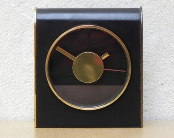 Vintage Metcor Brass and Leather Mantel Clock