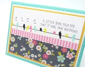 Little Bird Birthday Card for Her, A Little Bird Told Me, Washi Tape Greeting Card, Classy Handmade Paper Greeting Card