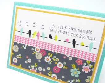 Happy Birthday Card for Her Little Bird Birthday Card Washi Tape Greeting Card Classy Handmade Paper Greeting Card Fancy Card for Women
