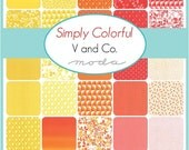 """ON SALE Simply Colorful  Red Yellow Orange Moda Charm Pack Quilt Fabric 42 squares  5"""""""