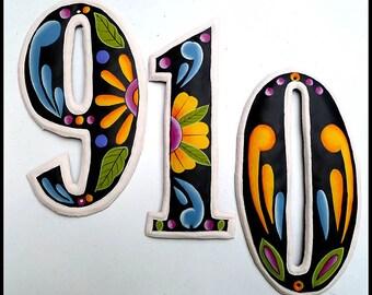 """1 Metal House Number -12"""" Hand Painted Metal Address Numbers - Black -Gold - Metal Art,  Steel Drum in Haiti - House Number  AD-100-12-GL"""