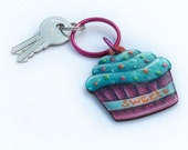 Cupcake Cutie Keychain, Handpainted, Tiny Art, Collectible