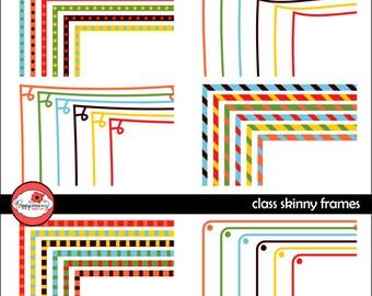 Class Skinny Frames Mega Pack: Clip Art Pack Card Making Digital Frames Page Borders