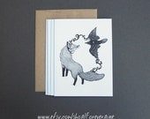 Harmony Fox and Raven Lunar Spirit Animal Connection Love and Guidance A2 4 1/4 X 5 1/2 blank greeting cards