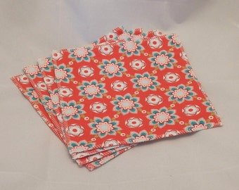 Cloth Wipes- Red Floral- Set of 4- 15016