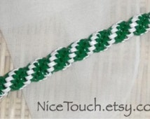SUMMER SALE!!! Free Shipping or Save 20% ~ Hogwart's Slytherin green and white woven gimp keychain ~ Made to Order