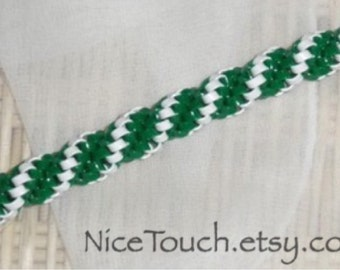 Hogwart's Slytherin green and white woven gimp keychain ~ Made to Order