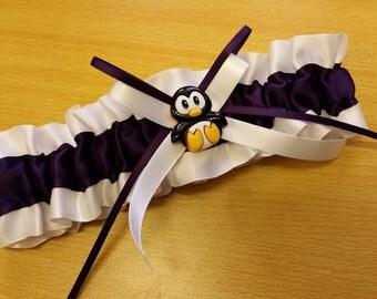 Penguin plum purple and white Single Wedding Garter, satin garter
