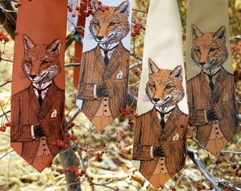 Fox Tie - Dapper Fox Necktie - Men's Necktie - Men's Gift - Animal Art - Unique Gifts for Him