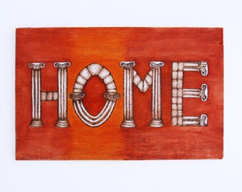 Wood Home Sign / Home Sign / Typography Decor / Wall Art /  Orange Sign / Wall Decor