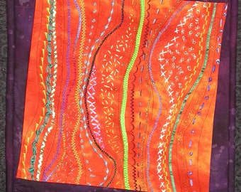 Celebrate orange bright Art Quilt 12 1/2 x 12 1/2