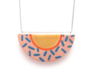 Half Moon Porcelain Pendant, Memphis Peach