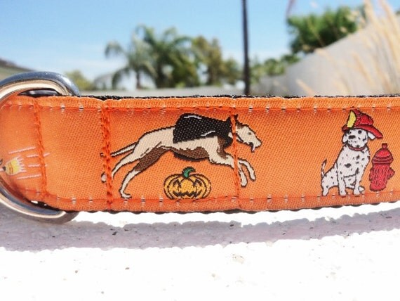 """Sale Halloween Dog Collar Dogs in Costume 1"""" wide side release adjustable buckle - Martingale is cost upgrade - see details for info"""