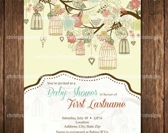 Floral and birds Baby Shower Invitation
