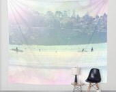 Art Tapestry Wall Hanging Surfin 3 Modern Photography Unique home decor pastel rainbow circles bokeh beach surfer ocean house ethereal light