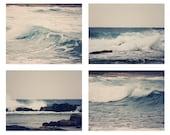 Ocean Collection 4 Fine Art Photography Metallic photo wall Print Sea Nautical photograph Set beach home decor Navy blue wave waves gray