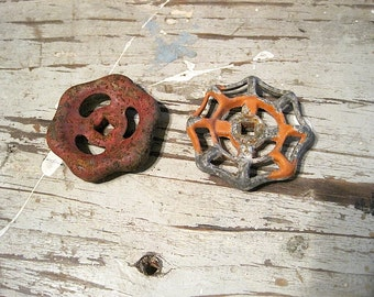 Two Vintage Chippy Rusty Water Faucet / Spigot Handles / Knobs