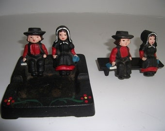 Vintage Amish cast Iron miniature figurines and Ashtray/ hand made hand painted Amish figurines with Ashtray