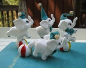 SALE - 4 Circus Elephant Figurines - Bone China made in Taiwan - Oak Hill Vintage