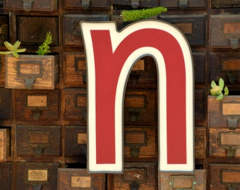 Vintage Marquee Sign Letter Lowercase 'N' 'U': Large Maroon & White Wall Hanging Initial - Industrial Neon Channel Advertising, WORKING LEDs