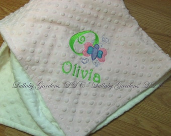 Personalize Minky Baby Blanket - Butterfly Font - Choice of Colors