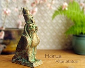 Horus The Falcon - Altar Votive Statue - Egyptian God of the Sun, War and Protection - Handcrafted Clay Statue with Brass Patina Finish