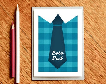 Christmas Dad Card, Dad Birthday Card, New Dad Card, Father's Day Card, Card for Dad, Xmas Dad Card, Boss Dad, Gift For Dad, Dad Gifts