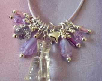 Cat Charm Necklace, Glow in the Dark, Quartz Crystal, Lavender, Purples