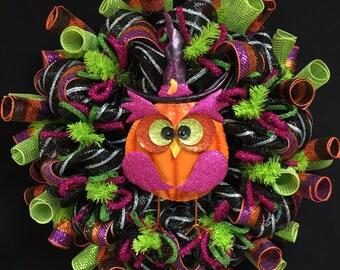 Happy Halloween, Owl Wreath, Purple Orange Lime Green Black, Wreaths for the Door, Halloween Door Decor (1792)