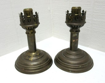 Vintage Brass Copper Metal Candlesticks Set Of Two Made In India