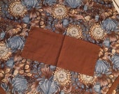 Adult apron elegant brown teal flowers standard size cotton apron womans apron