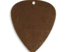 Vintaj Brass Guitar Pick Blank Charm with Hole 31 x 26mm Pendant Focal Antiqued Brass Ox Charm Qty 1