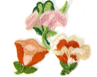 3 Antique Silk Flower Embellishments, Appliques - Victorian Tobacco Tag Premiums - Sewing, Crazy Quilting, Hats