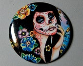 2.25 inch Pin Back Button - Gardenia - Day of the Dead Sugar Skull Girl Calavera Colorful Flowers Tattoo Art Pin