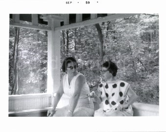 Vintage Photo, Two Women on Porch, Black & White Photo, Snapshot, Old Photo, Found Photo, Vernacular Photo, Old Photo