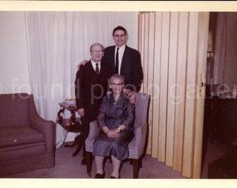 Vintage Photo, Portrait of Elderly Couple & Grandson, Color Photo, Found Photo, Snapshot, Vernacular Photo, Living Room