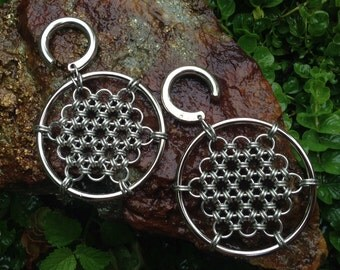 Honeycomb Open Hoops - Earrings for Stretched Lobes - Chainmaille - Gauges - Ear Weights