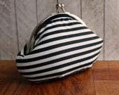 Personalized clutch, geometric clutch, black and white striped clutch purse wristlet, green silk interior,