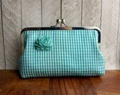 Clearance. Gingham purse, turquoise silk clutch bag with flower, turquoise clutch, turquoise blue clutch