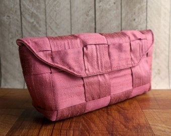 Clutch bag, pink purse, Rose pink clutch, pink silk clutch, woven clutch purse, gift for her
