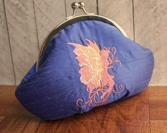 Clearance. Purple wristlet, silk clutch, personalized initials, Indigo clutch, embroidered pink fairy, framed lace clutch purse