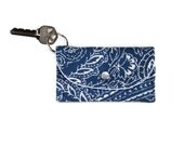 Navy Blue Card Holder, White Paisley and Flowers, Keychain Wallet, Credit Card Holder Key Ring, Student ID Keychain Holder