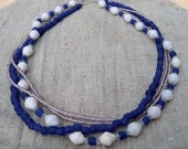 Cobalt Blue and White Recycled Necklace