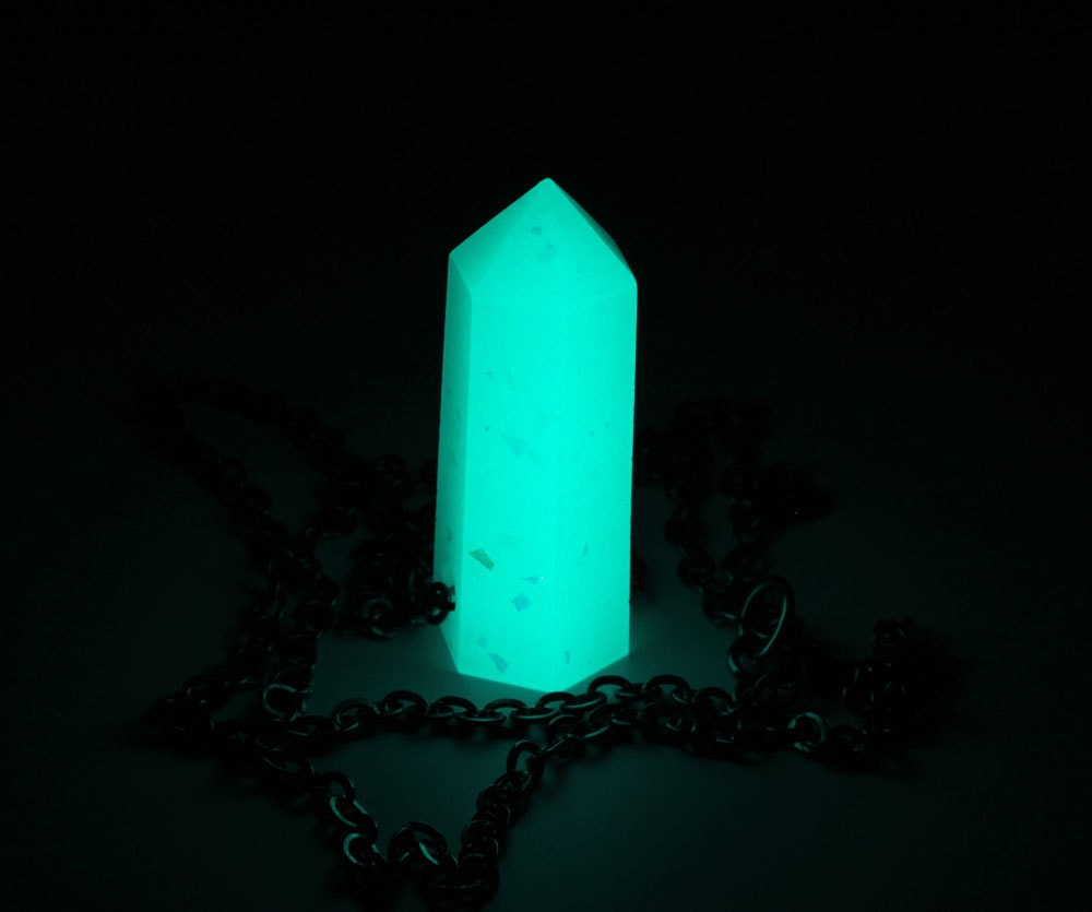 Aqua Glow In The Dark Fantasy Resin Quartz Crystal Point