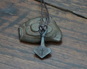 Custom Rune engraved forged Iron Thors Hammer, a small Mjolnir pendant with your choice of two runes