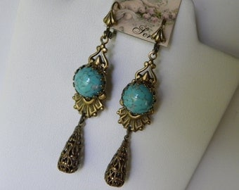 Turquoise Earrings Robin's Egg Blue Turquoise Long Dangle Victorian Filigree Long Edwardian Earrings