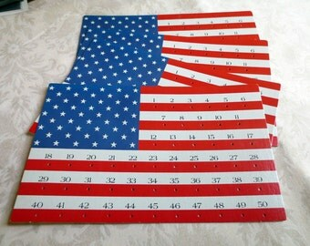 4 American U.S. Flag Cards, Large, from Vintage Game