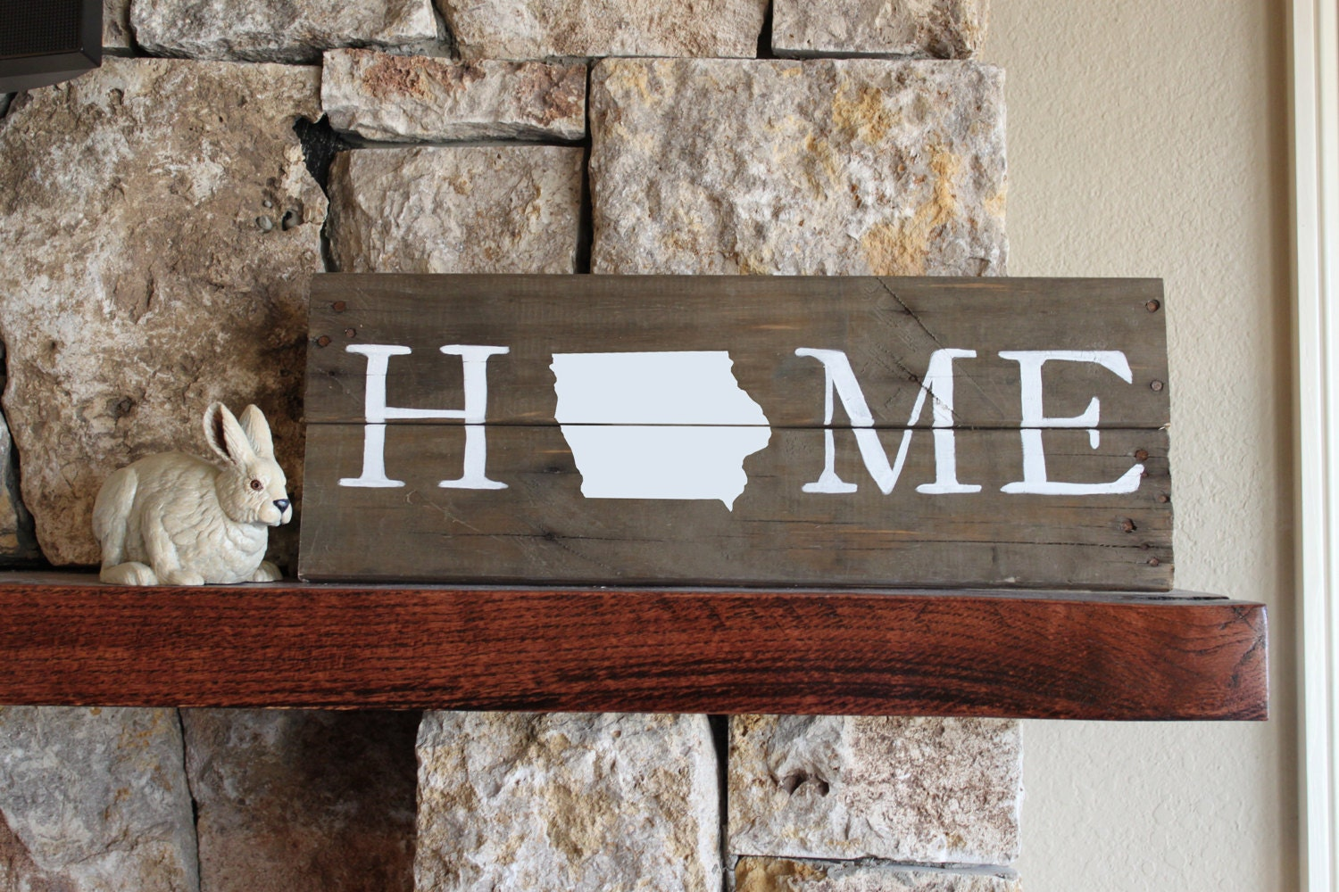 🔎zoom - Iowa HOME Reclaimed Wood Sign IA Home Sign Iowa Artwork